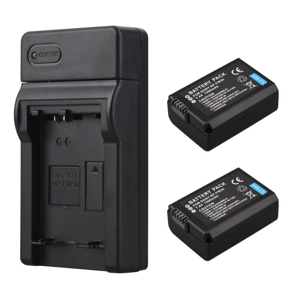 2x1500 mAh NP-FW50 NP FW50 de batería de la cámara Digital + cargador para Sony Alpha 7 a7 7R a7R 7 s a7S a3000 a5000 a6000 NEX-5N 5C A55