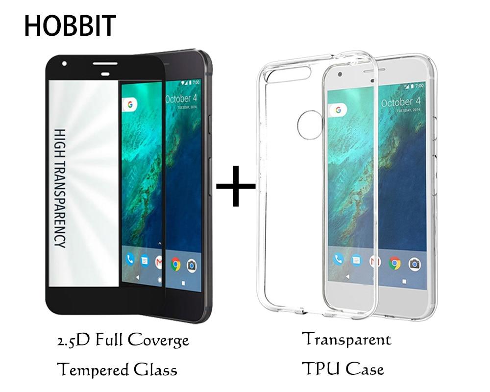 Für Google Pixel Transparent TPU Rückseite Cover Case und 2.5D Cover Full Coverage Displayschutzfolie aus gehärtetem Glas für Pixel XL