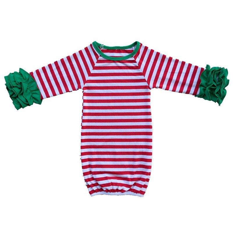 Zak Pasgeboren Slapen Zak Kindje Slaap Gown Kinderen Meisjes Ruche Lange Mouw Kerst Streep Nightgowns Baby Pyjama Zonden En Botten Versterken