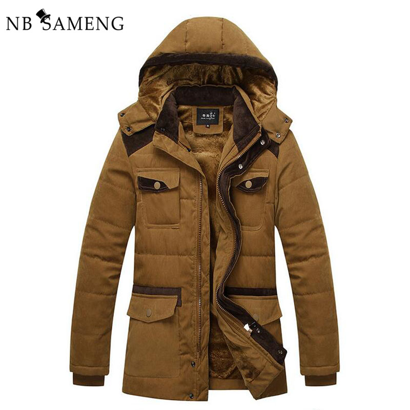 ФОТО 2017 New Mens Brand Winter Warm Coat With Hood Parka Jacket Men Cotton-Padded Brand Clothing  Parka NSWT173