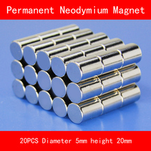 20PCS cylinder mini Magnet diameter 5*20MM  n35 Rare Earth strong NdFeB permanent Neodymium Magnet цены
