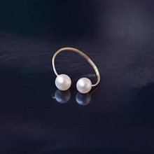 double pearl open ring for women gold plated top grade freshwater fashion jewelry simple elegant lady romantic