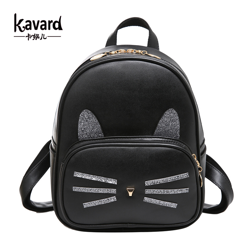 Kavard Backpack Women Back Pack Preppy Style Pu Leather Women Backpacks Cute Cat Appliques Girls School Bags 2017 New Brand ковш с ручкой flonal black