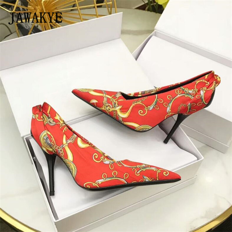 цена на 2018 Newest Luxury Satin Fold Leather High Heel Shoes Women Pointed Toe Shallow Mouth Pumps Lady Wedding Shoes Fashion