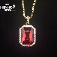 Crystal Onyx Pendant Necklace Set Square Red, Black, Blue,Green, White Stone Pendant 30inch Box Chain Mens Jewelry