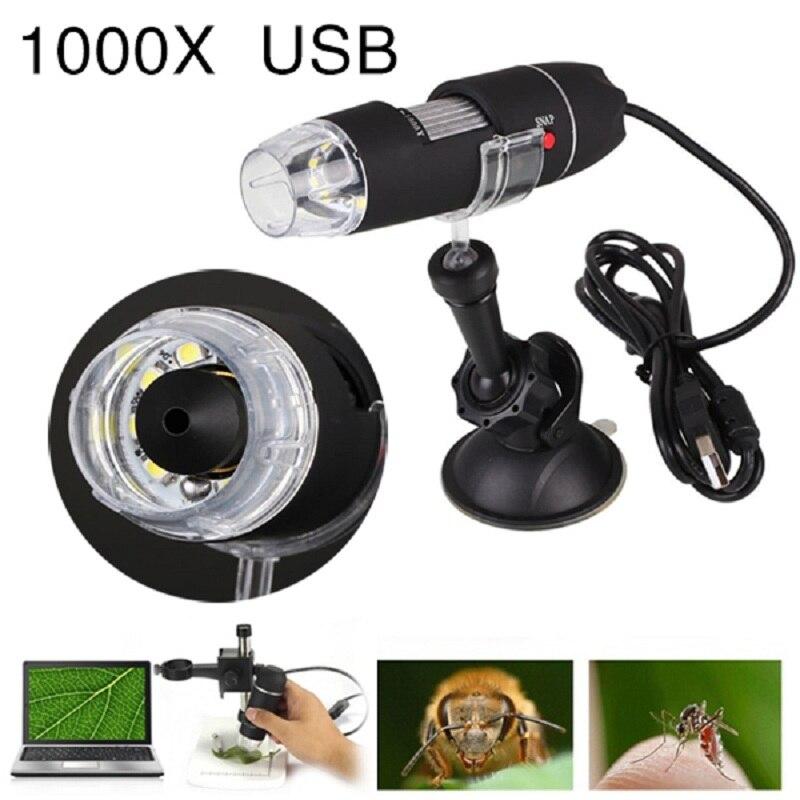 Jetery USB microscopio 1000X USB LED luz eléctrica de mano Digital microscopio estante de succión