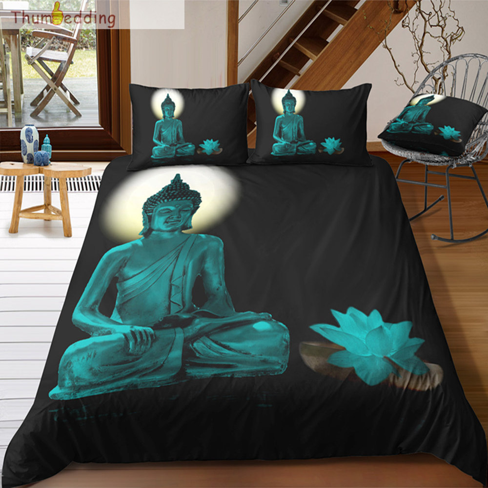 Hospitable Thumbedding Buddha And Lotus 3d Bedding Sets Buddha Digital Printing Twin Full Queen King Duvet Cover Set Single Bed Set Selling Well All Over The World