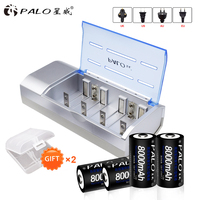 PALO Smart Charger For NI MH NI CD AA/AAA/SC/C/D/9V Rechargeable Batteries + 4Pcs D size NI MH 8000mah Batteries