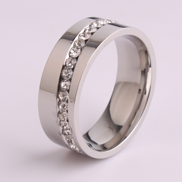 Oblique Single row rhinestone 316L Stainless Steel finger rings for men wholesale