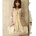 Japanese Women Spring Summer Chiffon Cardigan Lolita Lace Layer Floral Layer Sunscreen Cute Kawaii Female Jacket Mori Girl D147
