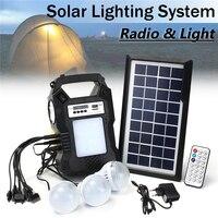 Solar Powered Outdoor Camping Music Lantern Flashlight 3 Light Bulbs Emergency Light Electric Generator Remote Control Lamp