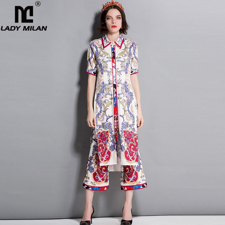 Lady Milan Womens Turn Down Collar Short Sleeves Printed Long Shirts with Pants Fashion Two Piece Pants Sets