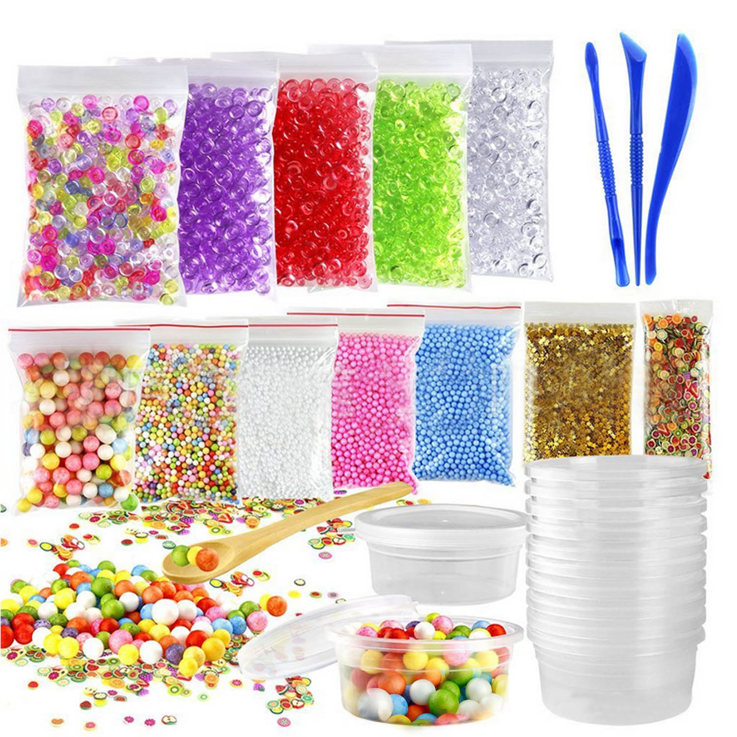 Colorful Beads Foam Balls Fruit Slice Gold Slime Tool Container Kit for Slime DIY Craft  ...