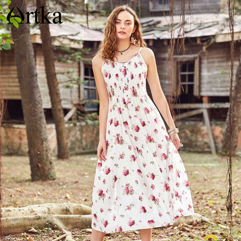 8bbb91d4b1 ARTKA 2018 Summer New Women Floral Strapless Long Dress Adjustable Shoulder  Straps High Waist Sleeveless Cotton