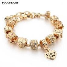 Женские золотые браслеты toucheart с сердечками женские известного