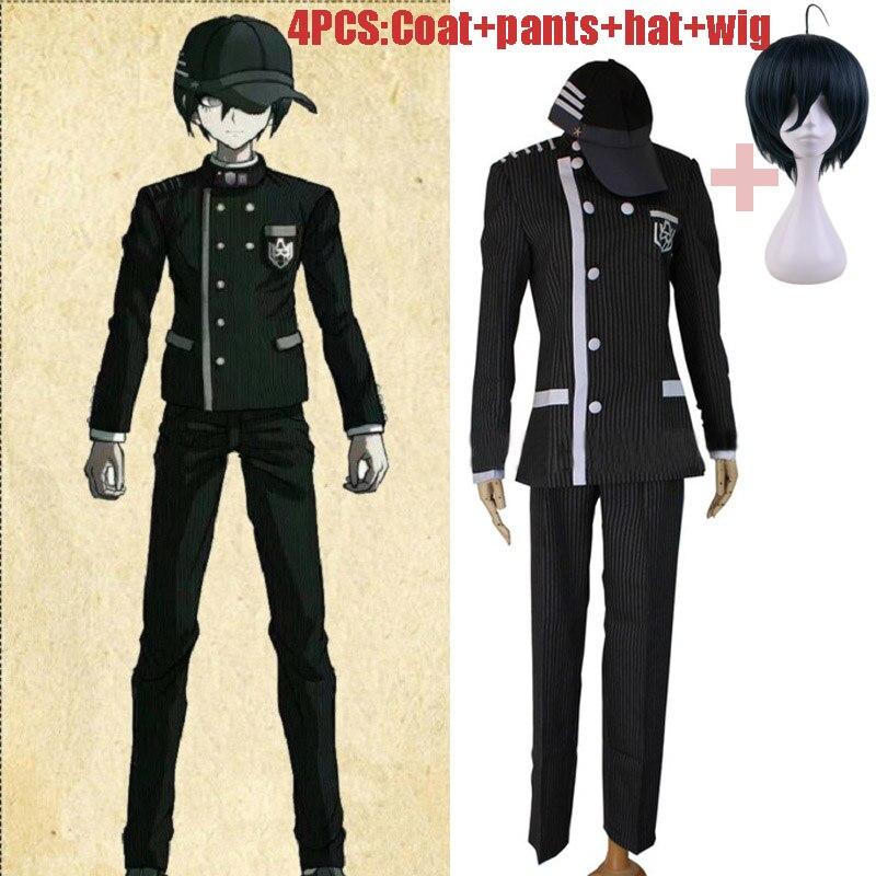 4pcs/Set Danganronpa V3 Killing Harmony Saihara Shuichi Detective Cosplay Costume For Men Woman Uniform Outfit With Hat Wig
