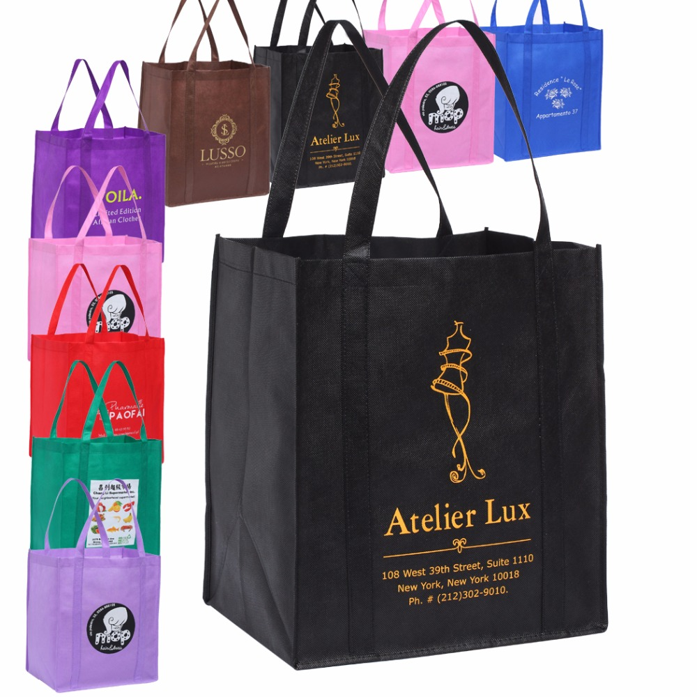 8b7d790cf016 Free Custom Reusable Grocery Tote Shopping Bags With Printed Logo  33H 30.5W 20G