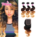Ombre brazilian hair with closure 4pcs with closure body wave #1B/4/27 virgin hair with closure #T1B/4/27 ombre with closure