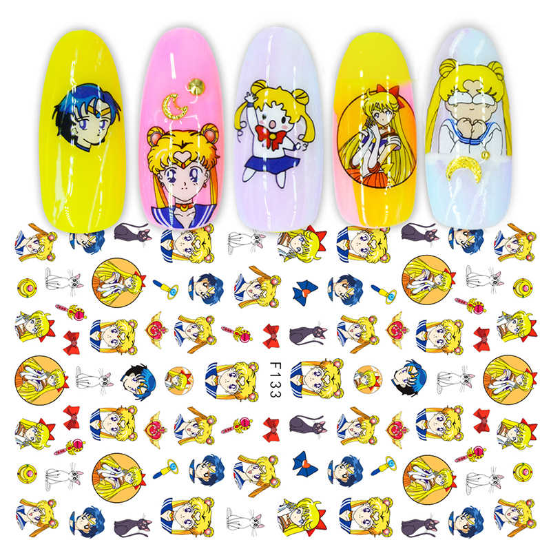 Self dhesive cartoon nail stickers for nails art decoration manicure supplies tool nail decals cute cat mouse sailor moon design
