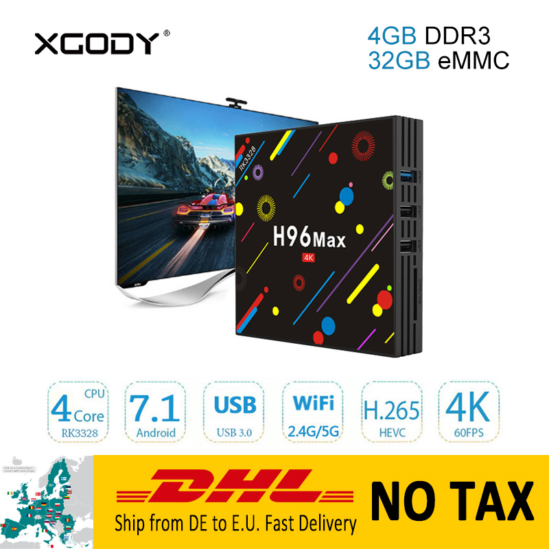 No Tax DHL Delivery XGODY H96 Max Smart TV Box Android 7.1 Nougat RK3328 Quad Core 4G+64G Bluetooth 4.0 4K TV Media Player Box h96 max h2 4g 64g android 7 1 tv box rk3328 quad core 4k smart tv box 2 4g 5g dual wifi bluetooth 4 0 usb3 0 media player box tv