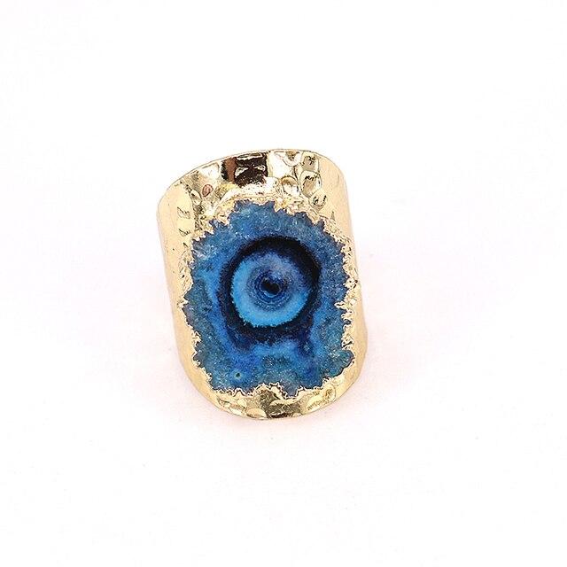 5 개/몫 행운 보석 반지 여성 Naturl 돌 불규칙한 블루 쿼츠 스톤 쥬얼리 손가락 크리스탈 반지 황금 조절 링