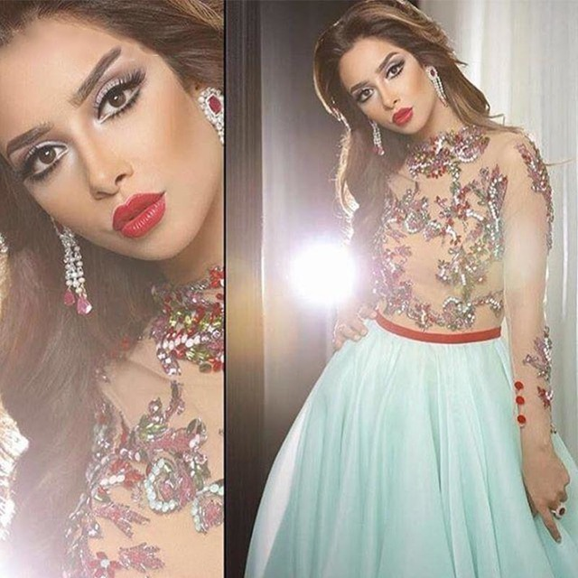 Celebrity Dresses 2017 A Line Beaded Mint Organza Skirt and Three Quartes Long Sleeves Beatiful gowns Dress