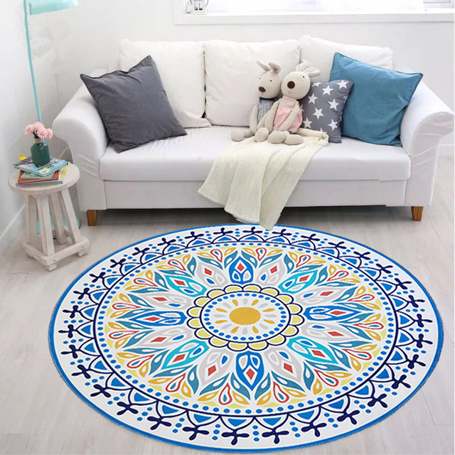 Mediterranean Style Carpet Round Living Room Computer Chair Floor