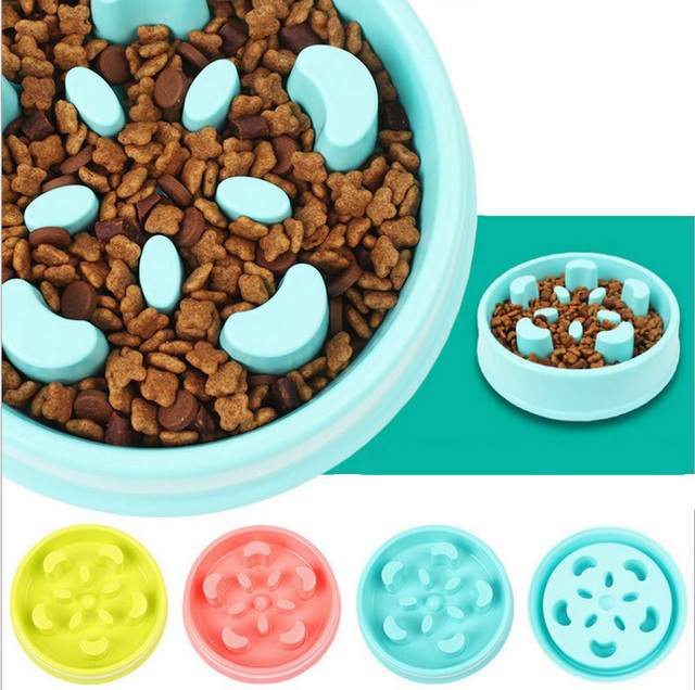 Pet Fun Feeder Dog Cat Food Slow Bowl Puppy Anti Choke Bowl Pet Cat Food