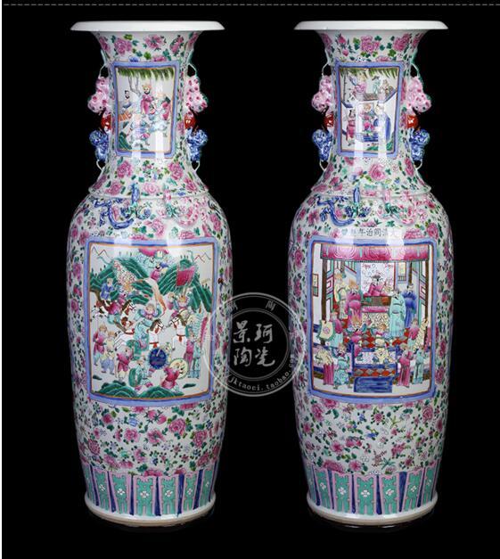Большой вазы, ручная роспись Archaize Канси застой Пастель двойной Лев уши Океан на день рождения