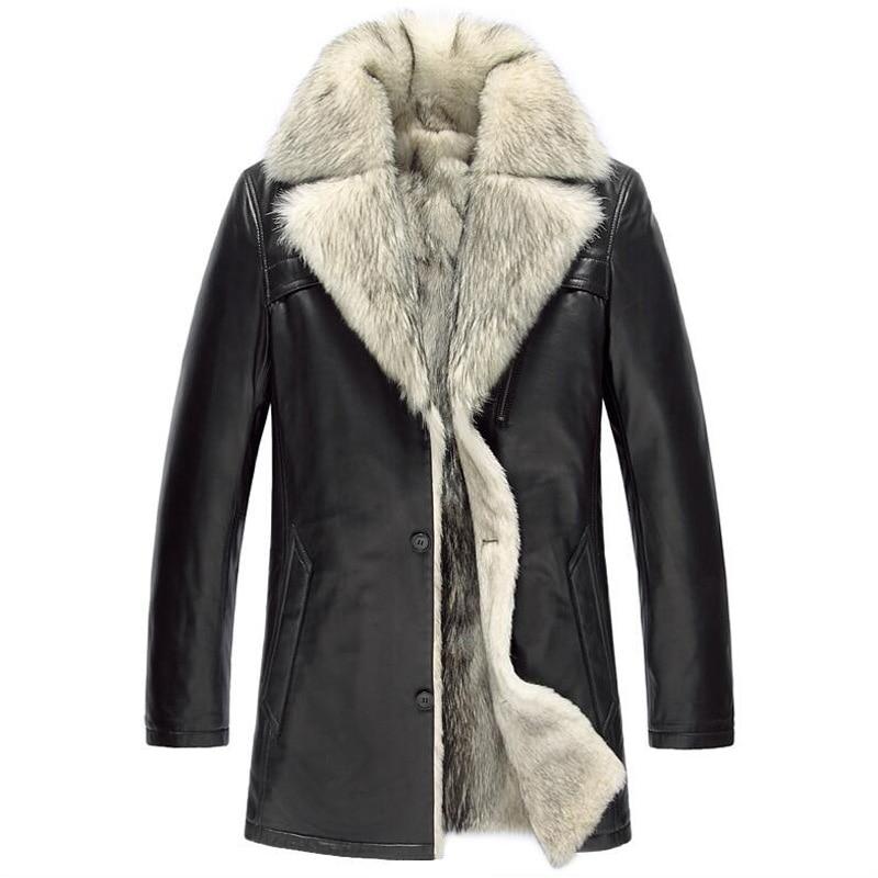Mens Fur Coat  Luxury Wolf  Fur Liner Lambskin Coat  100% Genuine Leather Sheepskin Jacket Long Outerwear TJ26