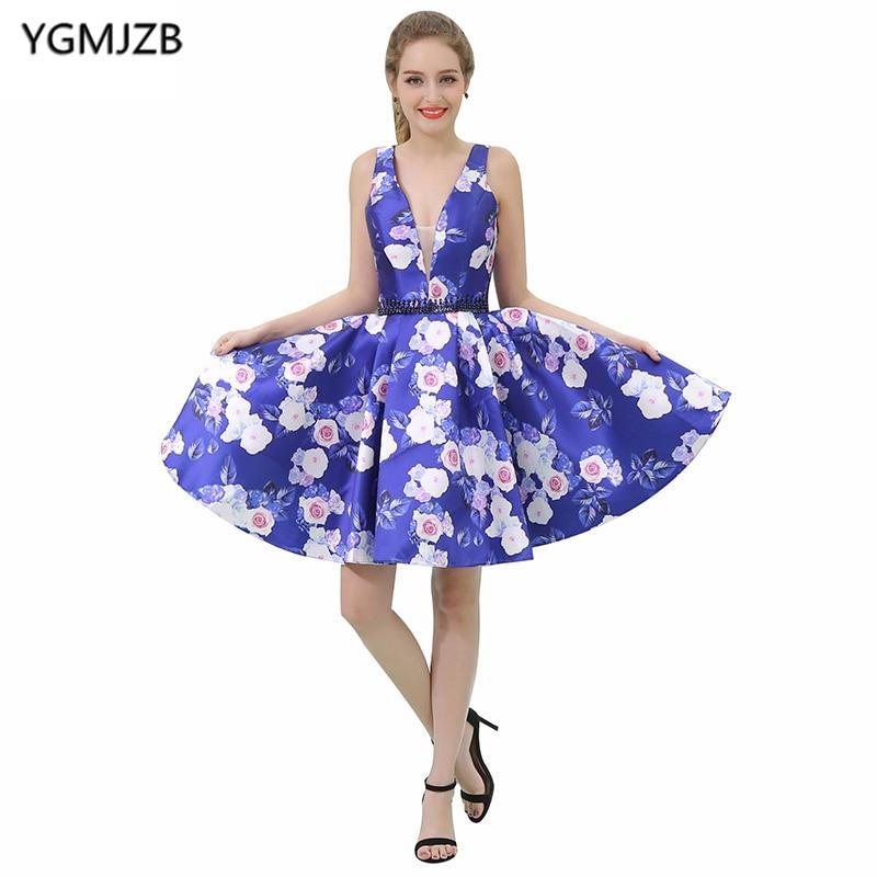 Short   Cocktail     Dresses   2018 A Line Deep V Neck Cap Sleeve Beaded Crystal Sashes Floral Print Prom   Dresses   Mini Party   Dresses