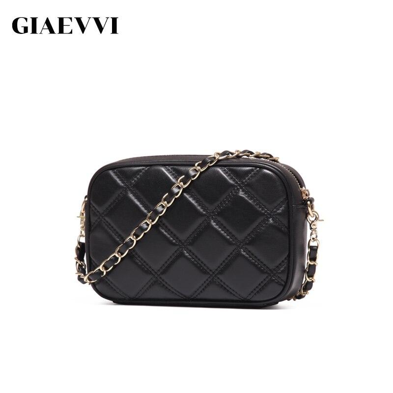 GIAEVVI Genuine Leather Mini Crossbody Bag Women Messenger Bags 2016 Brand Design Summer Small Fashion Chain