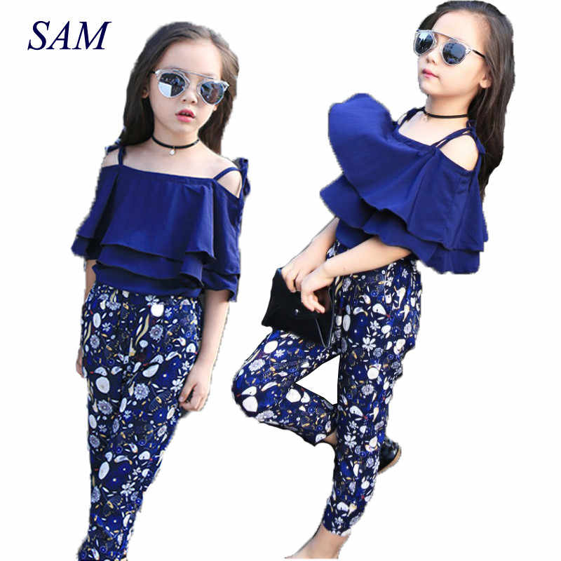 40797fe821e5f9 Girls Set Clothes Kids Fashion Top Pant Two Piece Children Summer Suit Girls  Boutique Outfits 7