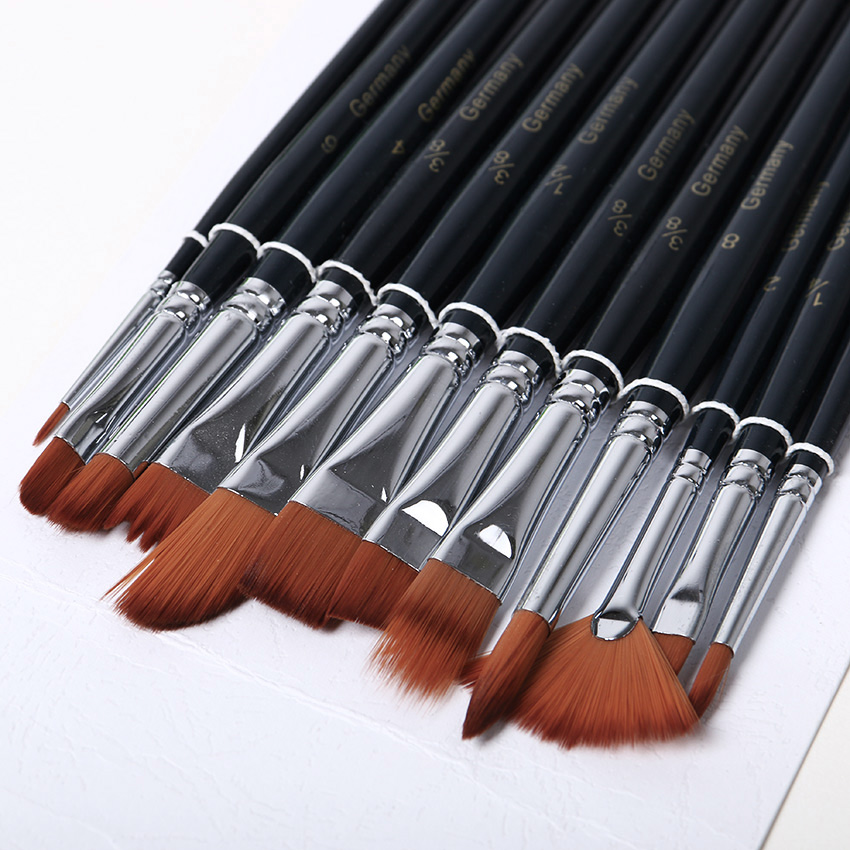 New 12 pcs/set Different Shape Nylon Hair Paint Brush Gouache Watercolor Brush Oil Painting Brush Art Supplies dhl ems free shipping uhp300w 1 3 p22 5 original oem lamp bulb