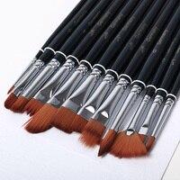 12pcs Lot High Quality Kids Watercolor Gouache Painting Pen Nylon Hair Paint Brush Drawing Supplies
