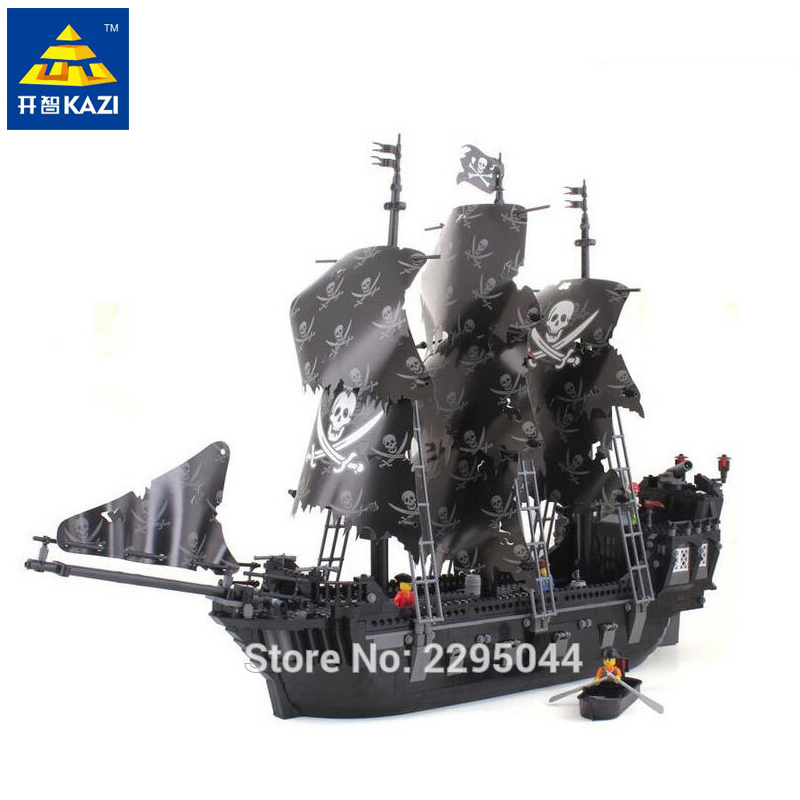 Kazi The Black Pearl Ship Blocks 1184pcs Bricks Pirates of the Caribbean Building Building Sets Education Toys For Children kazi 1184pcs pirates of the caribbean black general black pearl ship model building blocks toys compatible with lepin