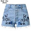 Más el Tamaño Bordado ripped jeans Shorts 4XL 5XL Luz femenina azul denim Short 2017 Bolsillos vaqueros rectos de cintura Alta de las mujeres bott