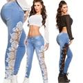 2016 Мода Кружева Джинсы Sexy Тощий Полная длина feminina джинсы calcas pantalon femme джинсы бойфренд для женщин
