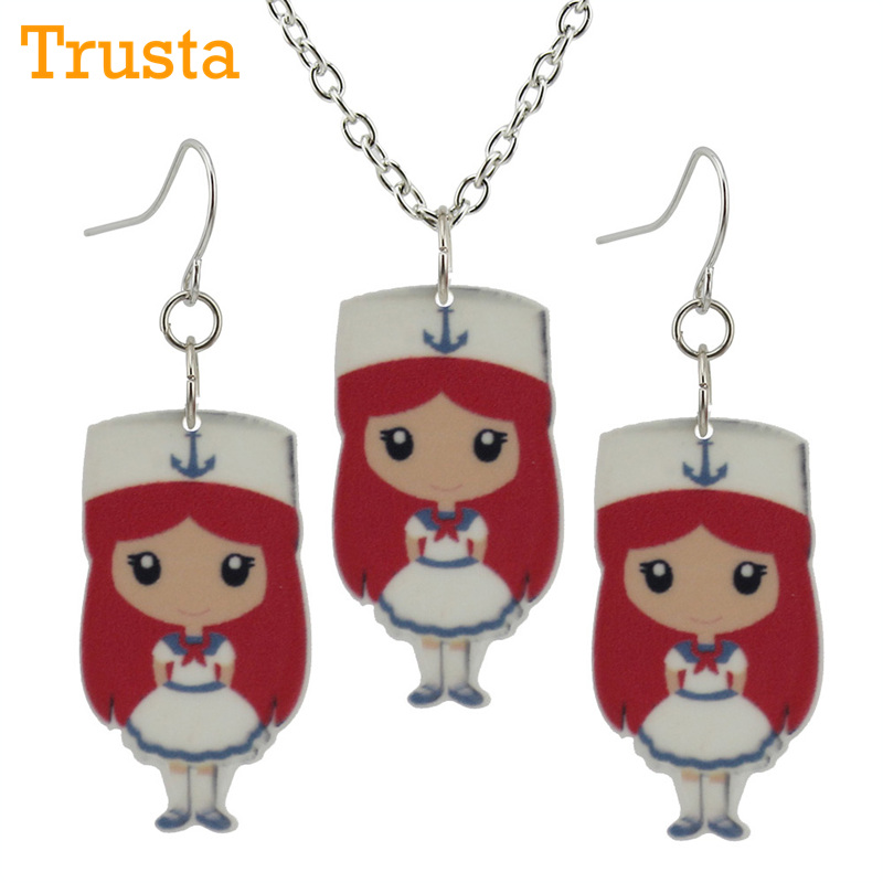 Trusta 2018 Fashion Girls Kids Gift Jewelry Doctors Nurse Earring Pendant 40cm Short Chain Necklace Free Shipping Xma Gift KS80