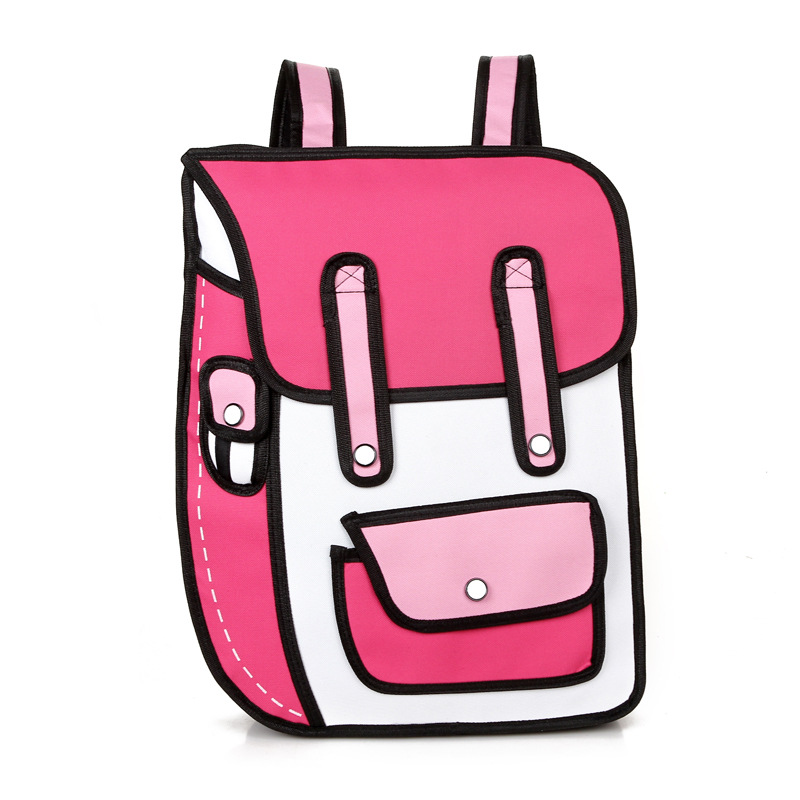 2019 New 3d Jump Style 2d Drawing Cartoon Paper Bag Comic Backpack Messenger Tote Fashion Cute Student Bags Unisex Bolos 4colors #3