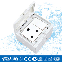 Free shipping CE Approved South African Waterproof Wall Switcher & Socket with Splash Proof Box,PVC 16A 250V waterproof socket