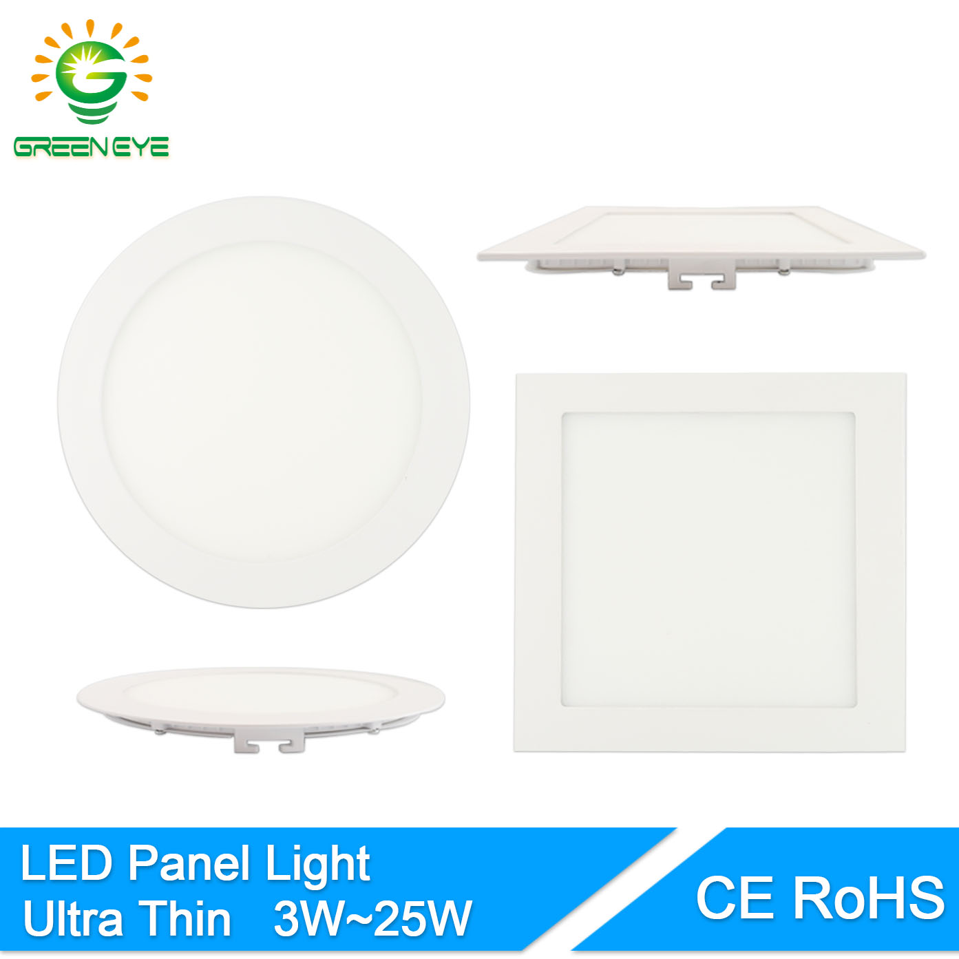 Led Panel Light Square And Round Greeneye High Bright Led Panel Light Ac85 265v 3w 25w Led