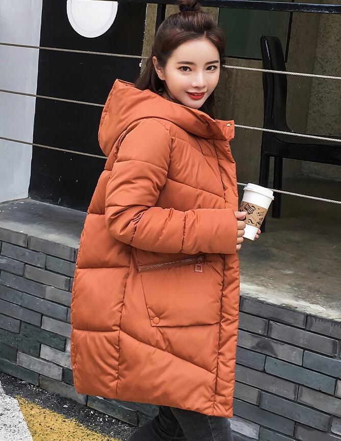 Caramel Hooded Elastic Winter   Down     Coat   Jacket Long Warm Women Casaco Feminino Abrigos Mujer Invierno Parkas Outwear   Coats