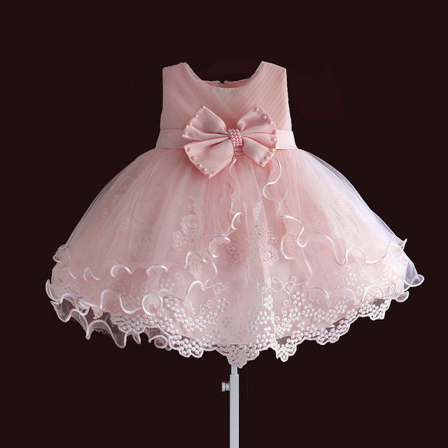 Brand New Baby Girl Dresses Pink White Pearl Bow Party Pageant Dress Little Kids Children Dress for Party Wedding Size 6M 4T