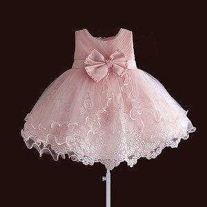 Image 1 - Marke Neue Baby Mädchen Kleider Rosa Weiß Perle Bogen Party Pageant Kleid Kleine Kinder Kinder Kleid für Party Hochzeit Größe 6 M 4 T