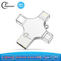 Ingelon USB Flash 256GB Pendrive 128GB Multifunction Extra OTG Cle USB Storage Dropshipping DIY Custom Music Disk On Key 256 GB