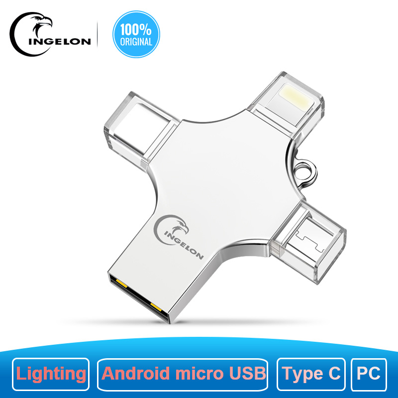 Ingelon USB Flash 256GB Pendrive 128GB Multifunction Extra OTG Cle USB Storage Dropshipping DIY Custom Music Disk On Key 256 GB