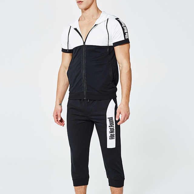 Rlyaeiz 2019 Zomer Casual Trainingspak Mannen Twee Stukken Set Brief Gedrukt Kleur Patchwork Hoodies + Shorts Sets Mannelijke Zweet Pak