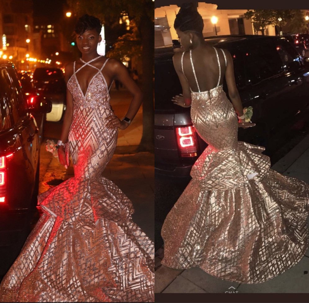 Sparkly Rose Gold Sequins Long   Prom     Dresses   2019 Sexy African V Neck Backless Black Girls Mermaid   Prom   Graduation Party Gowns
