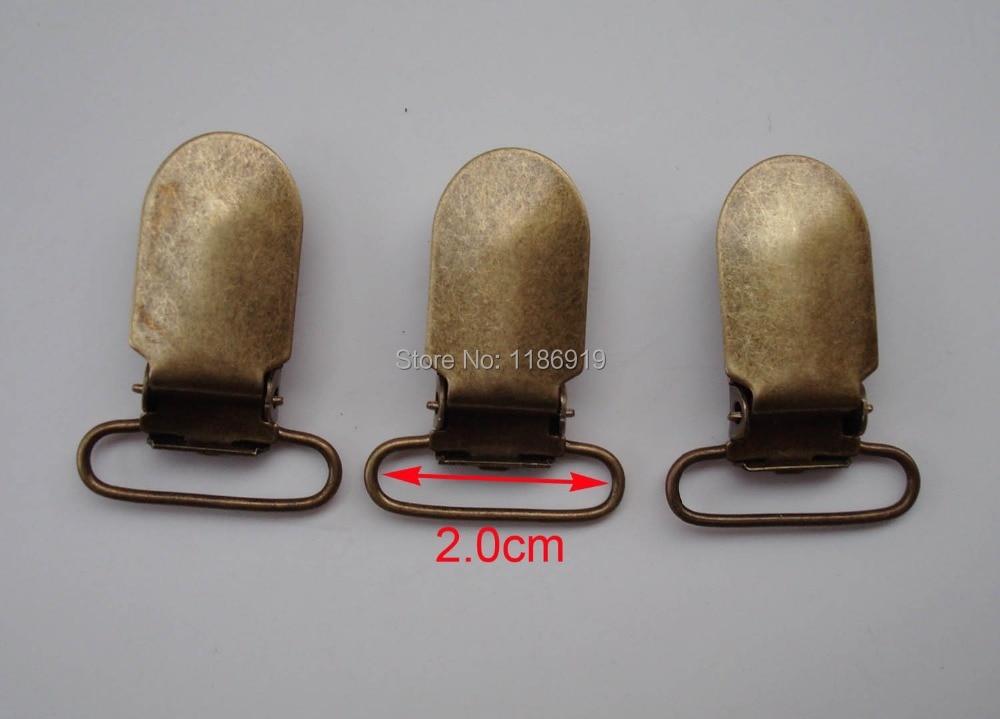 wholesale Inner 2.0 cm,25 pcs/lot,anti-brass Lead Free Suspender Holder (No Plastic Insert) braces clips gallus clamp clincher
